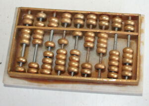 Small Antique Old Chinese Calculator Mounted On Marble