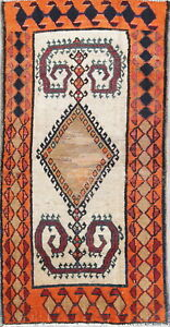Old Antique Collectable Handmade 2x5 Wool Tribal Oriental Rug 4 7 X 2 3