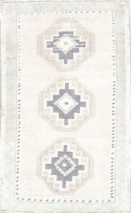 Old Semi Antique Geometric Handmade Muted Collectable Oushak Rug 2 11 X 1 9