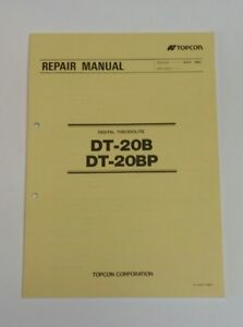 Topcon Repair Manual Dt 20p Dt 20dp Digital Theodolite Factory Repair Manual