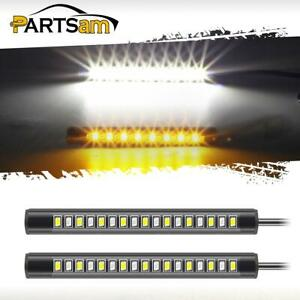 2x 17led Amber White Motorcycle Led Turn Signal Indicator Running Light Strip