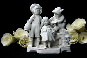 German Antique Marked Bisque Porcelain Statue Group