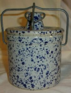 Vintage Large Gray With Blue Splatter Ware Cheese Crock Pottery Wire Bail Seal