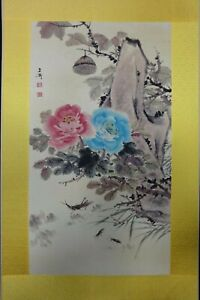 Very Large Old Chinese Paper Hand Painting Flowers Wangxuetao Marks