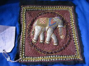 Hand Beaded Sequin Elephant Asian Tapestry Square 2