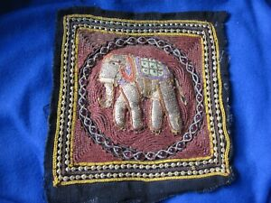 Hand Beaded Sequin Elephant Asian Tapestry Square 3