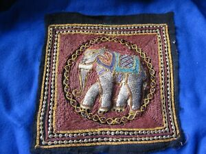 Hand Beaded Sequin Elephant Asian Tapestry Square 4