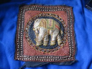 Hand Beaded Sequin Elephant Asian Tapestry Square 1