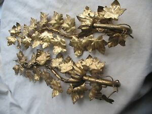 Vintage Pair Of Italian Gold Gilt Tole Candle Sconces Hollywood Regency