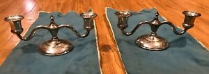 Black Starr And Gorham Sterling Silver Candle Holders 2279