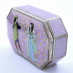 Large Figural German 925 Sterling Lavender Guilloche Enamel Box
