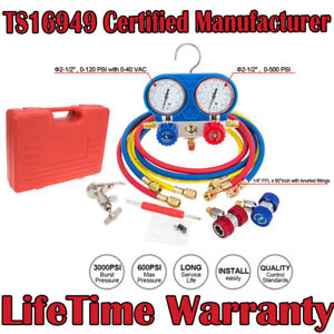 3 Way Air Vacuum Pump Hvac R134a Kit Ac A c Manifold Gauge Set For R12 R22 Us