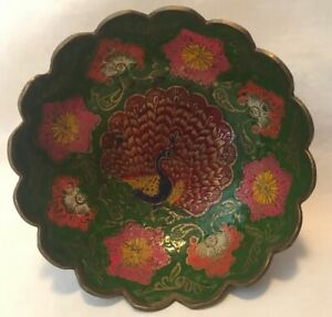 Vintage Brass Enameled Peacock Bowl From India