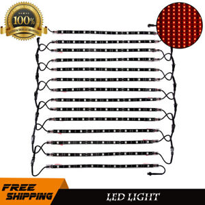 14pc 12 Red Car Truck Underglow Under Body Neon Glow Led Lights Strip Lamp