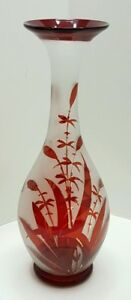 Antique Ruby Red Flash Hand Blown Glass Vase Victorian Stylized Leaf Pattern