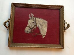 Vtg 1940 S Tray Framing Completed Needlepoint Horse Equestrian 11 X 9 Wood