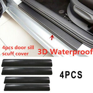 4pc Car Door Sill Scuff Welcome Pedal Protect Carbon Fiber Stickers Accessories