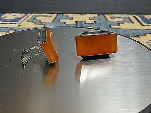 Vintage Russian Baltic Amber Cuff Links Soviet Marked 875 Silver Wow