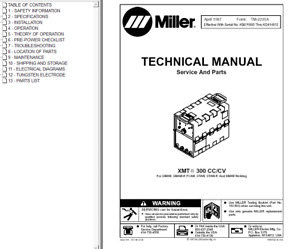 Miller Xmt 300 Cc Cv Service Technical Manual