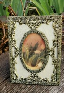 Vintage Small Ornate Brass Metal Tabletop Picture Frame W Glass 5 1 4 X 3 7 8