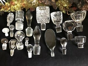 Lot Of 18 Assorted Sizes Vintage Glass Crystal Perfume Cruet Bottle Stoppers