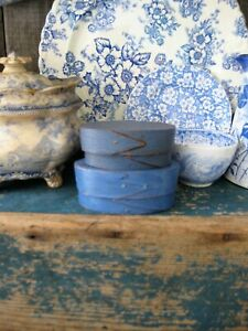 Two Early Small Oval Antique Shaker Pantry Boxes Blue Milk Paint