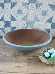 Antique Dough Bowl With Rim Robins Egg Blue Paint 12 1 2 Free Shipping