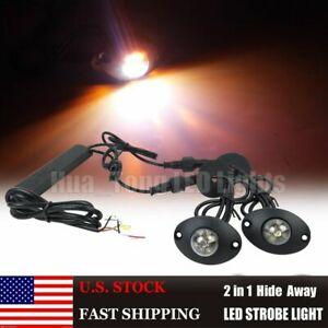 2in1 12 Led Hide Away Strobe Lights Emergency Truck Vehicle Warning Amber White