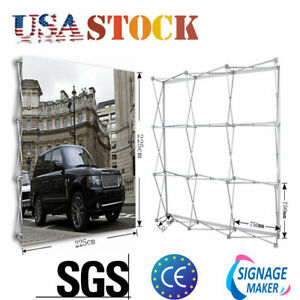 Usa 8ft Tension Fabric Pop Up Display Backdrop Trade Show With Custom Graphic