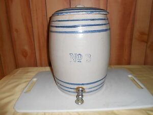No 3 Early Spigot Water Cooler Crock With Lid