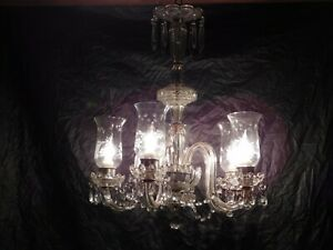 Old Antique Crystal Glass Chandelier Ceiling Fixture Dining Light Lamp Vintage