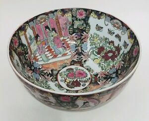 Huge Antique Handpainted Chinese Famille Rose Porcelain Bowl Qing Dynasty Marked