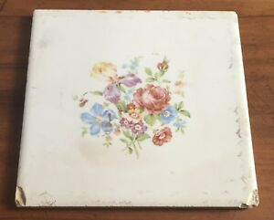 Wheeling Art Tile Ceramic Folk Art Floral Motif Red Blue Purple