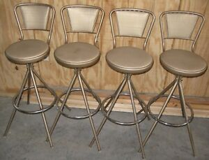 4 Mid Century Modern Ames Maid Griswold Swivel Kitchen Bar Stools Chrome Vinyl