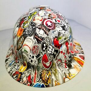 Hard Hat Custom Hydro Dipped Osha Approved Full Brim Wild Sticker Bomb New