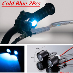 Pair Motorcycle Spotlight Cold Blue Led Daytime Running Lights