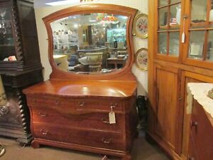 Vintage Flamed Birch Dresser Vanity Sideboard Wood Beveled Mirror Bombay Inlaid