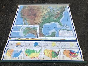 Usa Pull Down American Map Globe School Mcnally Vtg Classroom Markable Rainfall