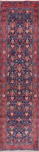 One Of A Kind All Over Blue Sarouk Persian Oriental Hand Knotted 3x13 Runner Rug