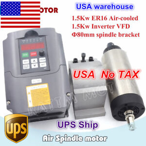 usa 1 5kw 220v Er16 Air Cooled Spindle Motor 1 5kw Vfd Drive 80mm Clamp Cnc Kit