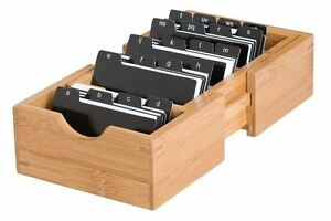Business Card Holder Set Bamboo Wooden Organizer Expandable Divider Index Tab