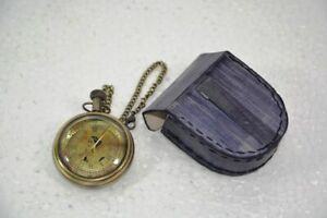 Antique Maritime Clock Hand Made Stylist Pocket Watch With Leather Case