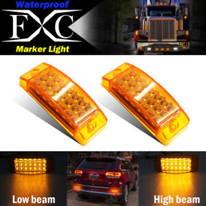 2x Amber 21 Led Side Marker Clearance Light Rectangle 12v Truck Trailer Camper