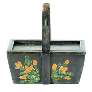 Small Antique Chinese Painted Food Utility Box Black With Colorful Paintings