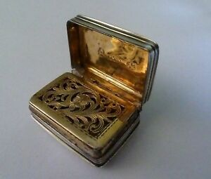 George Iv English Sterling Silver Vinaigrette By T W Simpson 1823