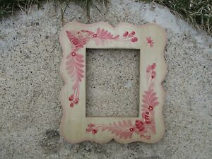 Vintage Ca 1978 Folk Art Hand Painted Wood Picture Frame Signed Pipka Fit 4x5