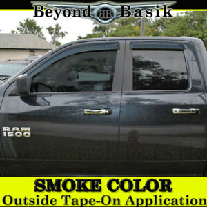 For 2009 2018 Dodge Ram 1500 Extended quad Cab Smoke Door Vent Window Visors