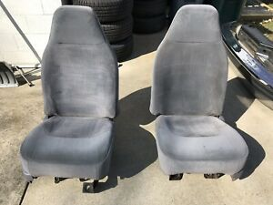 92 96 97 Ford F150 F250 F350 Bronco Front Bucket Jump Seats Gray