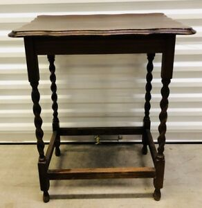 Antique English Oak Carved Barley Twist Side Table Accent Table C Late 1880 S
