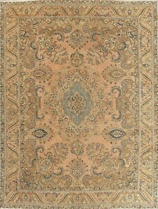 8 X 12 Old Rug Antique Tabrez Hand Knotted Wool Floral Oriental Area Rug